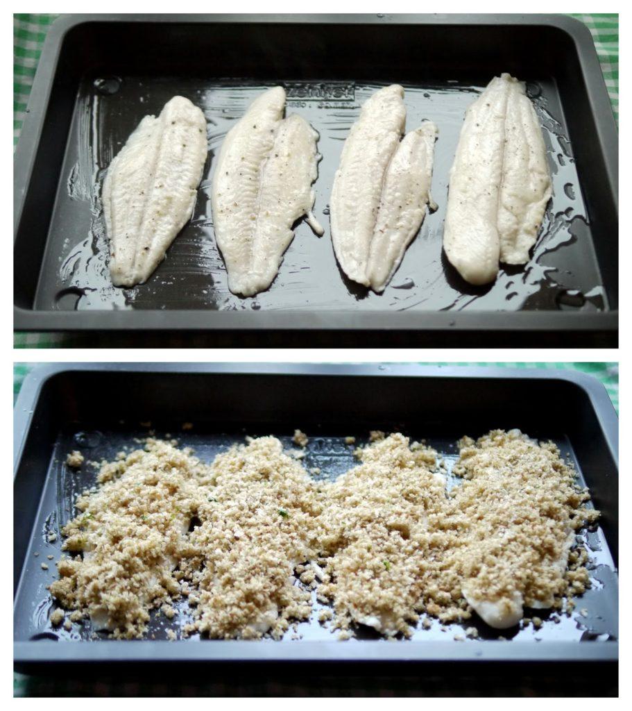 Fischfilet mit Kräuterkruste an Kartoffel-Sellerie-Püree mit Ofenmöhren