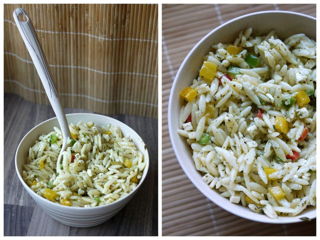 Salat, Kritharaki, Paprika, Feta, Grillen