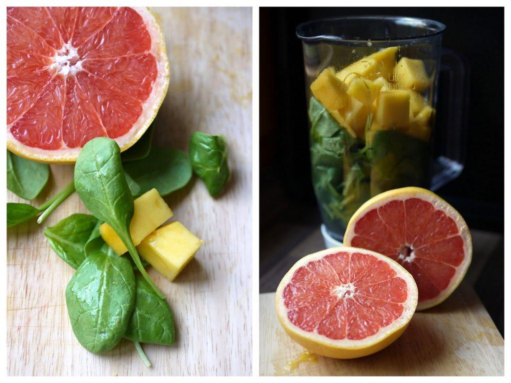 Experimente aus meiner Küche: Grüner Smoothie mit Mango, Spinat und Grapefruit