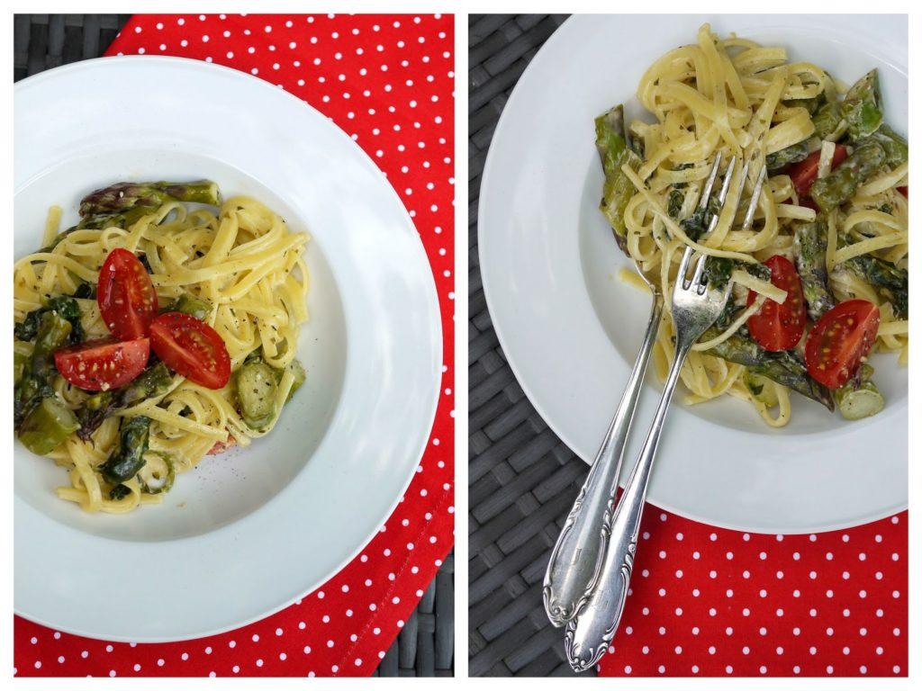 Experimente aus meiner Küche: Pasta mit Spargel, Spinat und Tomaten