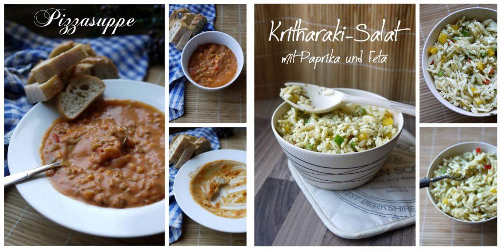 Pizzasupe und Kritharaki-Salat