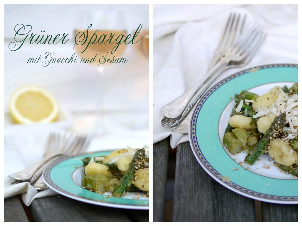Experimente aus meiner Küche: Grüner Spargel mit Gnocchi und Sesam