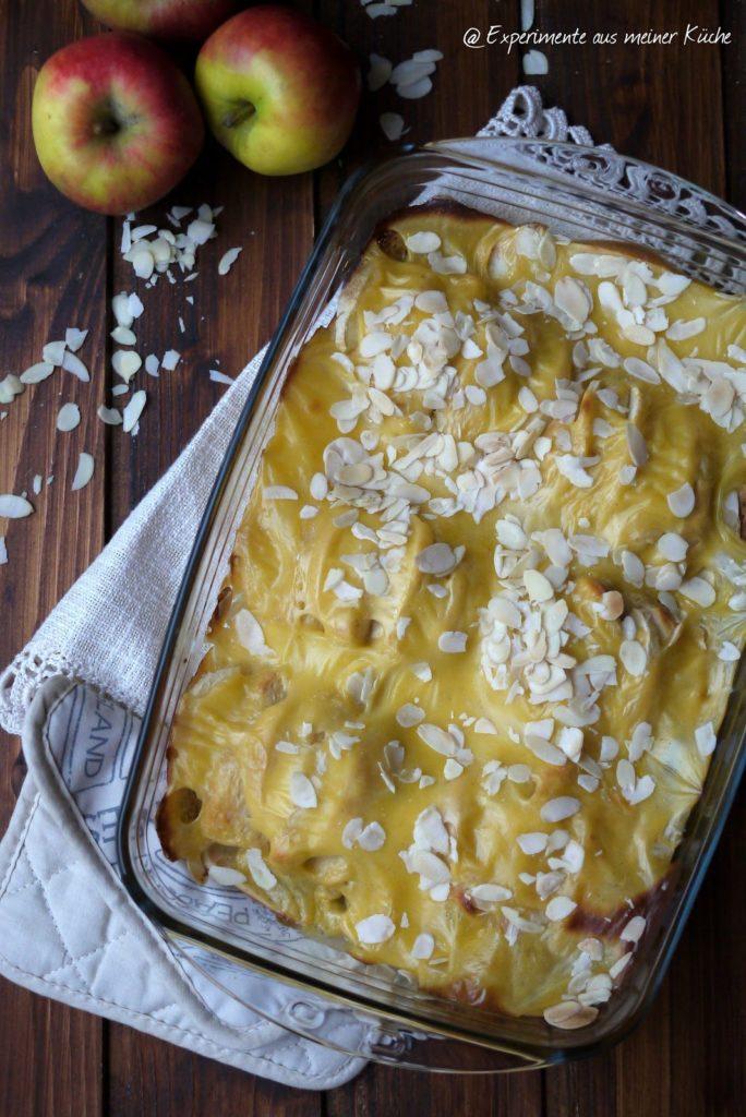 Experimente aus meiner Küche: Apfelbrötchenfächer-Auflauf