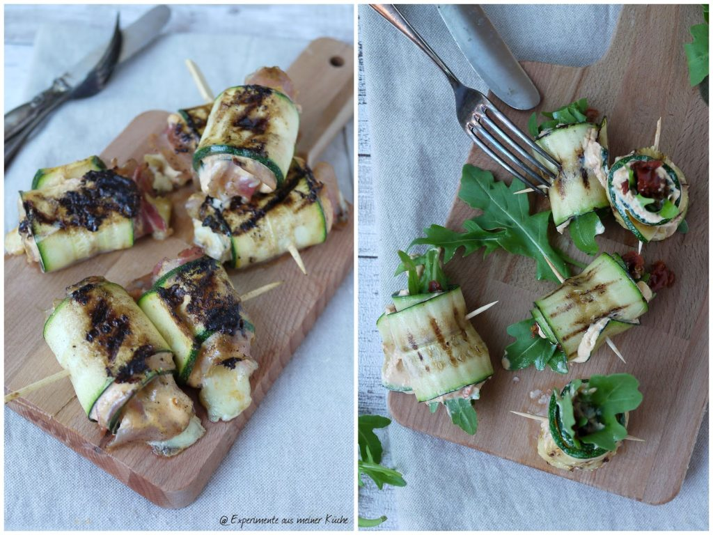Experimente aus meiner Küche: Zweierlei Zucchiniröllchen