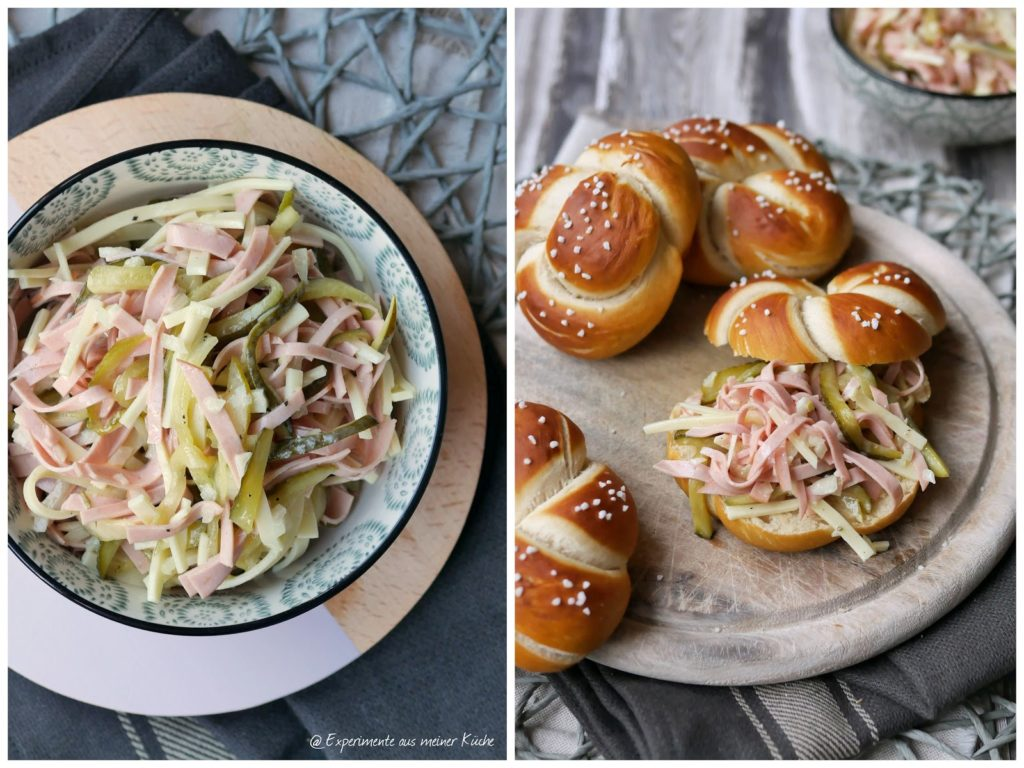 Experimente aus meiner Küche: Laugenknoten mit zweierlei Wurstsalat
