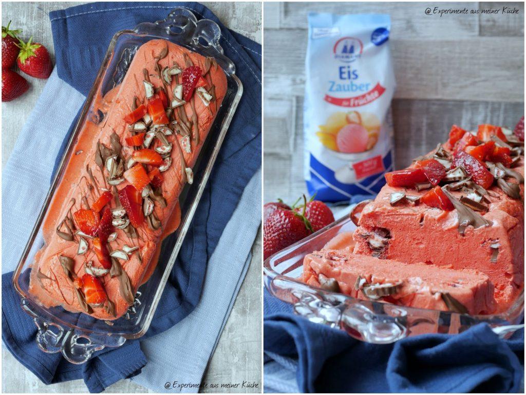 Erdbeer-Yogurette-Eis ohne Eismaschine | Rezept