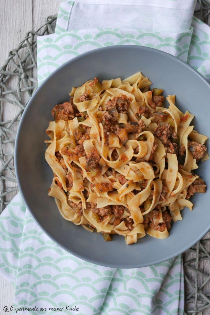 Pasta mit Auberginen-Hack-Soße | Essen | Kochen | Rezept | Nudeln