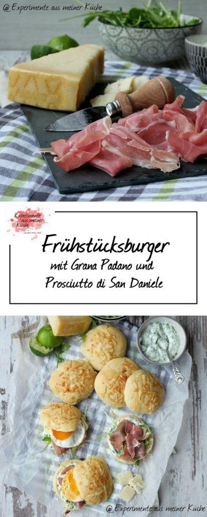Frühstücksburger mit Grana Padano und Prosciutto di San Daniele | Rezept | Essen