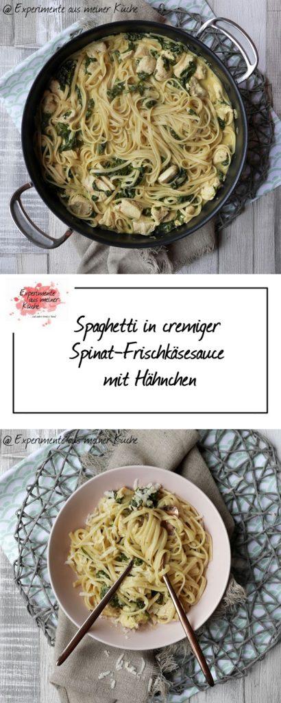 Spaghetti in cremiger Spinat-Frischkäsesauce mit Hähnchen | Rezept | Kochen | Essen