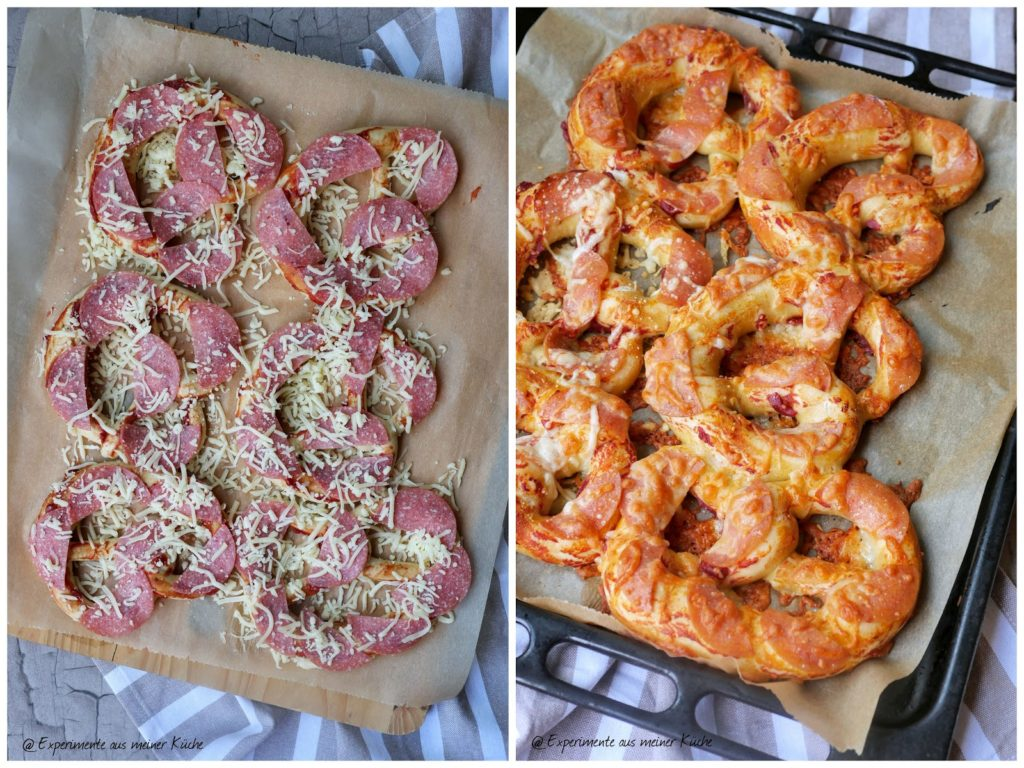 Überbackene Brezeln   Rezept   Essen   Party   Fingerfood   Pizza-Brezeln