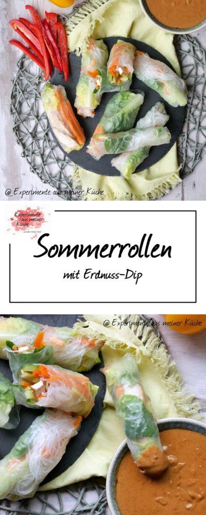 Sommerrollen mit Erdnuss-Dip | Rezept | Essen | Asiatisch | Summer Rolls