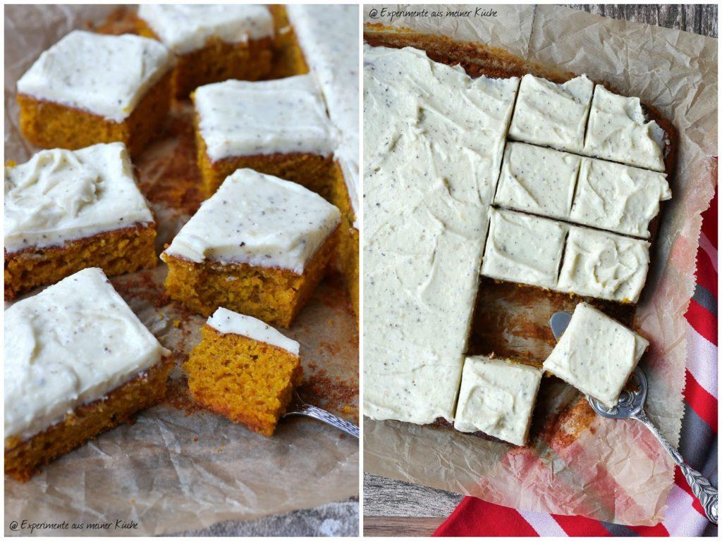Pumpkin Bars mit Cream Cheese Frosting | Rezept | Kuchen | Backen | Essen | Kürbis