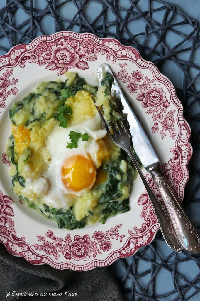Kartoffel-Spinat-Auflauf mit Spiegelei | Rezept | Kochen | Essen | Hausmannskost | Weight Watchers