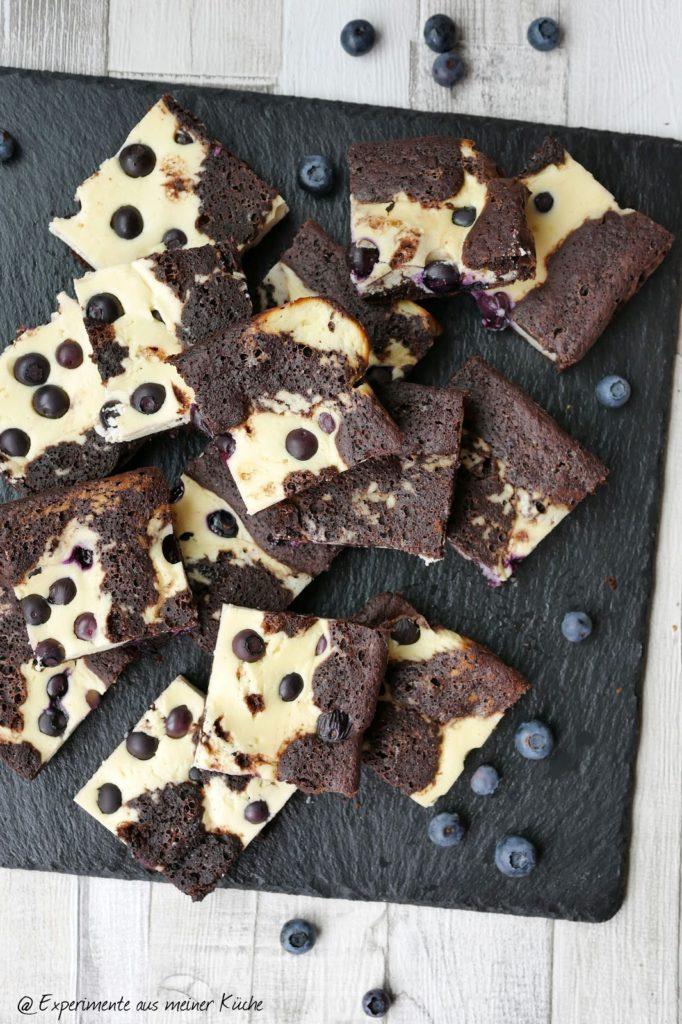 Käsekuchen-Brownie mit Heidelbeeren   Kuchen   Backen   Rezept   Weight Watchers