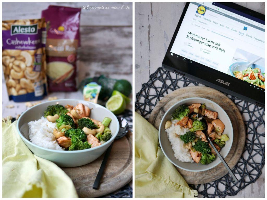 Marinerter Lachs mit Brokkoli und Reis | Kochen | Rezept  | Essen