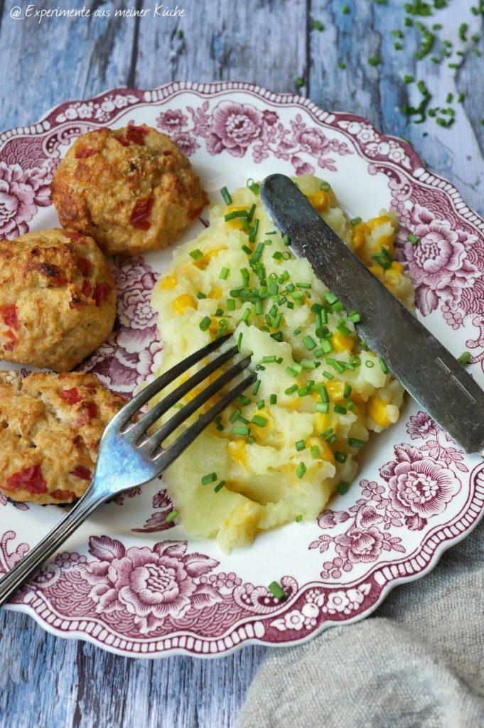 Paprika-Geflügel-Frikadellen mit Kartoffel-Mais-Stampf | Rezept | Kochen | Essen | Weight Watchers