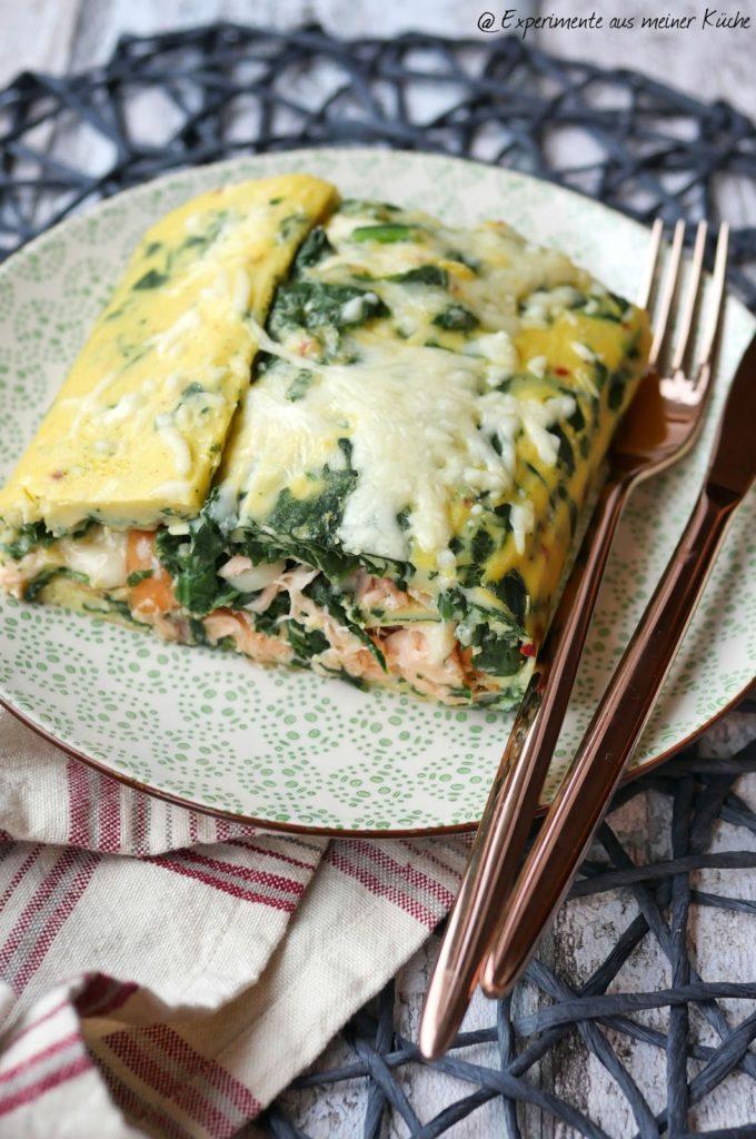 Spinat-Omelett mit Lachs | Rezept | Kochen | Essen | Eierspeise | Weight Watchers