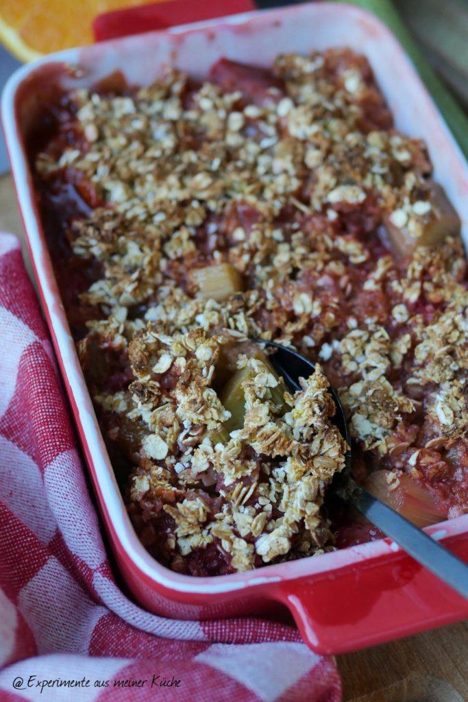 Rhabarbercrumble mit Haferflocken   Rezept   Essen   Gesund   Dessert   Weight Watchers