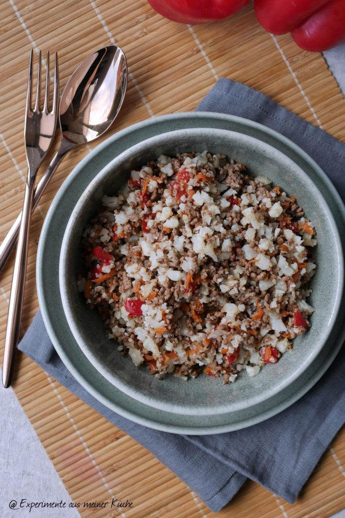Asiatisches Hackfleisch mit Blumenkohlreis | Rezept | Kochen | Essen | Weight Watchers | Low Carb