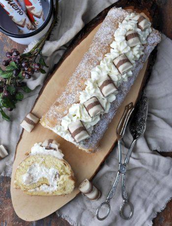 kinder bueno Biskuitrolle | Backen | Kuchen | Torte